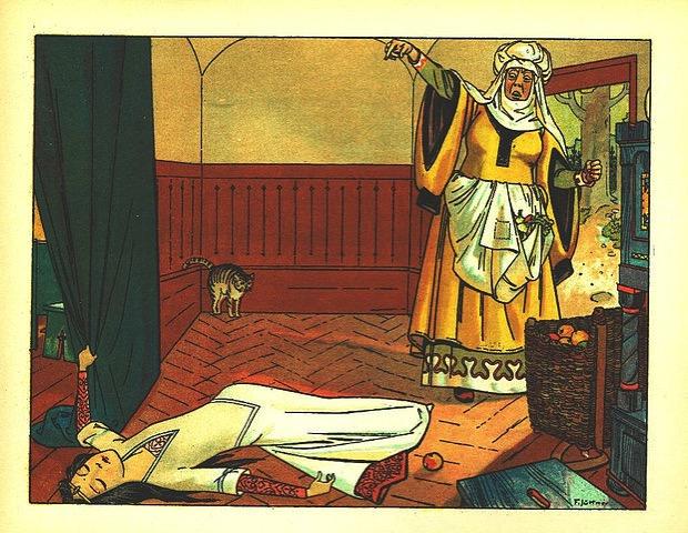Illustration von Franz Juettner: Die böse Königin hat Schneewittchen mit einem Apfel vergiftet; ©gemeinfrei