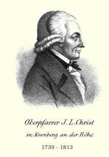 Historisches Portrait eines Mannes mit Perücke, darunter Schrift