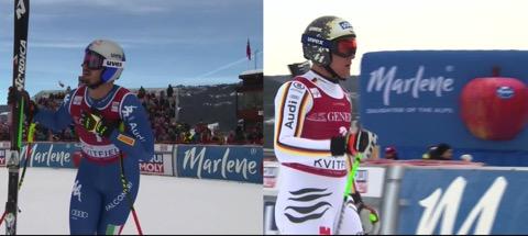 zwei Bildausschnitte mit Skifahrern neben Werbebanden, auf denen der Schriftzug Marlene® steht, außerdem ein Plakat mit einem roten Apfel; Screenshot, fair use
