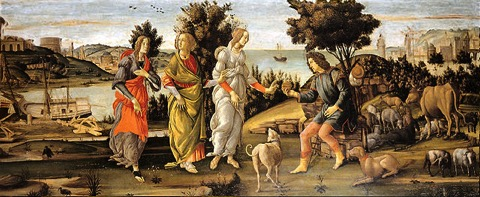 Gemälde Sandro Botticellis, das drei Frauen und einen Mann, der einen goldenen Apfel in der Hand hält, zeigt