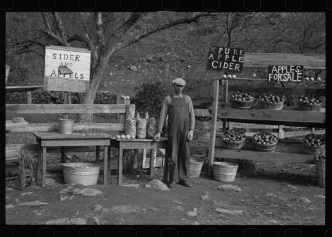 sw-Foto: Ein Mann an eine Apfel-Verkaufstand; Arthur Rothstein, Library of Congress, LC DIG fsa 8a07722