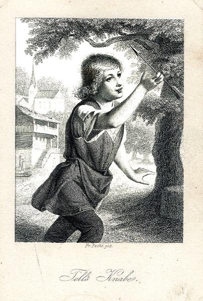 Historischer Stahlstich, einJunge hält einen Pfeil in der Hand