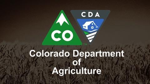 Logo des Colorado Department of Agriculture, im Hintergrund ein Getreidefeld; @CDA