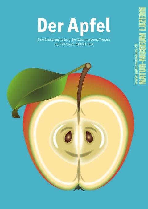 Ausstellungsplakat mit einem gezeichneten Apfel und Hinweisen; @Agentur Cyan und Naturmuseum Luzern