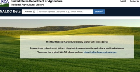 Screenshot der neuen Website des USDA - NALDC