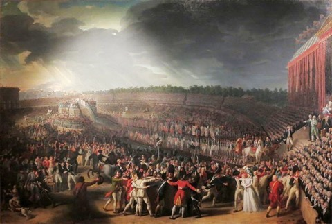 Historisches Gemälde, das eine riesige Menschenmenge auf feiern einem großen Platz zeigt
