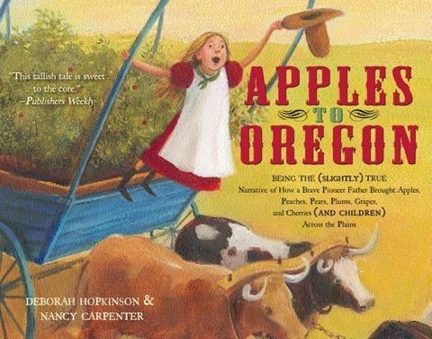 Buch-Cover des Kinderbuchs Apples to Oregon; Nancy Carpenter, Simon and Schuster