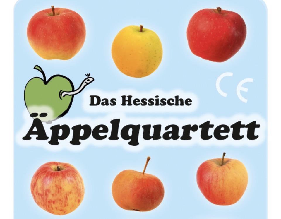 Äpfel und die Aufschrift Das Hessische Äppelquartett, Ausschnitt aus einem Deckblatt eines Quartettspiels