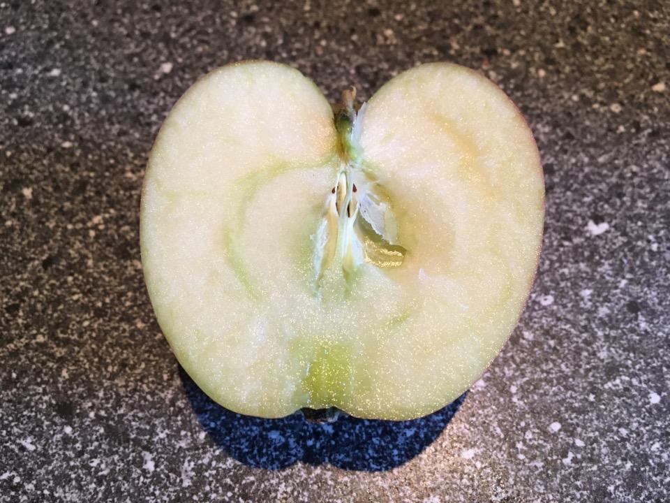 Aufgeschnittener Apfel mit weißem Fruchtfleisch
